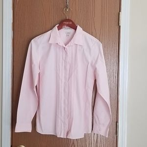 LL Bean Pink Wrinkle Resistant Button Down Shirt L